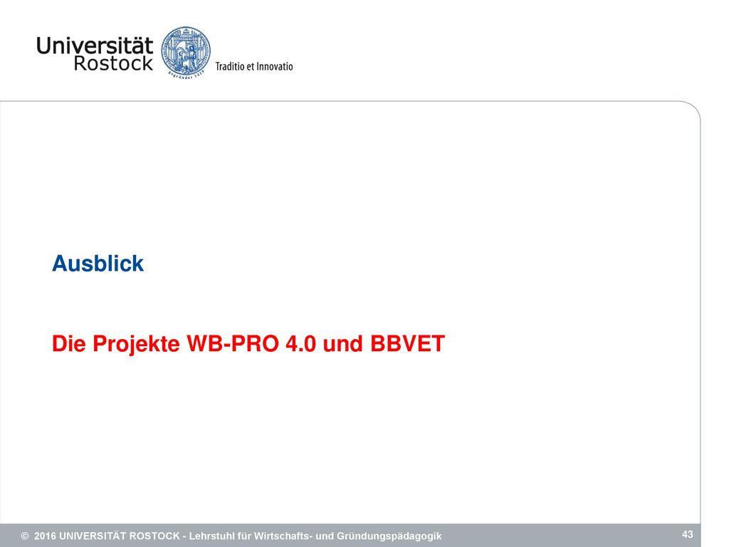 Die Projekte WB-PRO 4.0 und BBVET