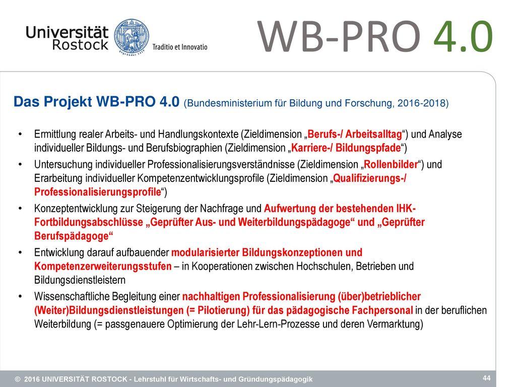 Das Projekt WB-PRO 4.0 (Bundesministerium für Bildung und Forschung, 2016-2018)