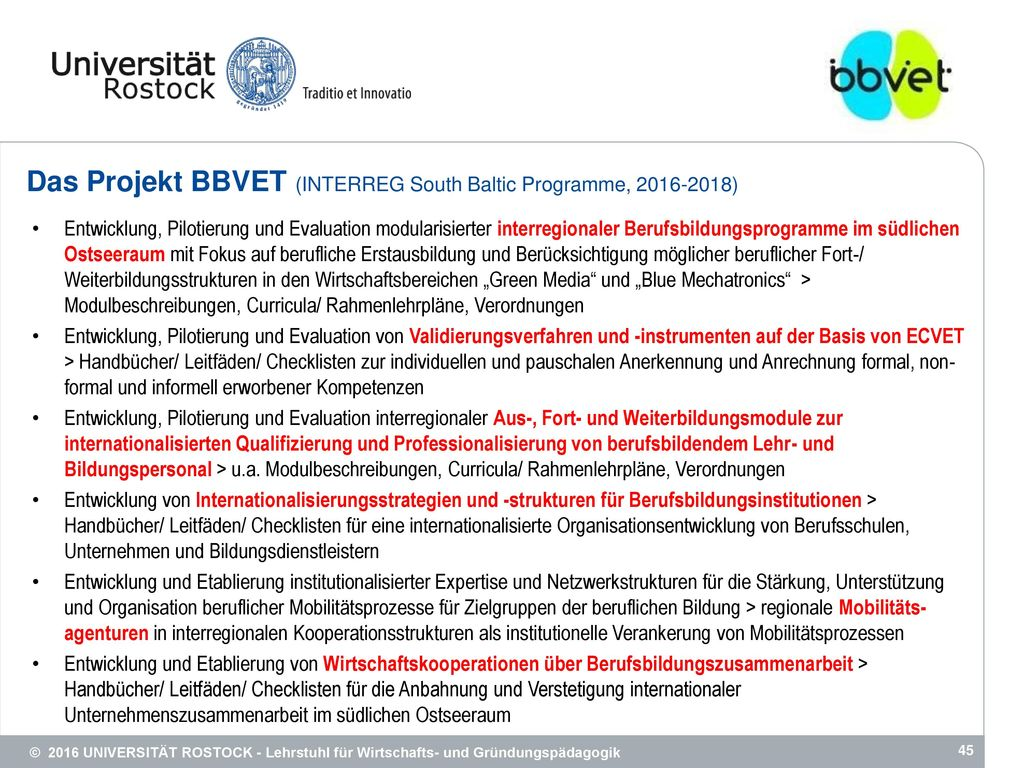 Das Projekt BBVET (INTERREG South Baltic Programme, 2016-2018)