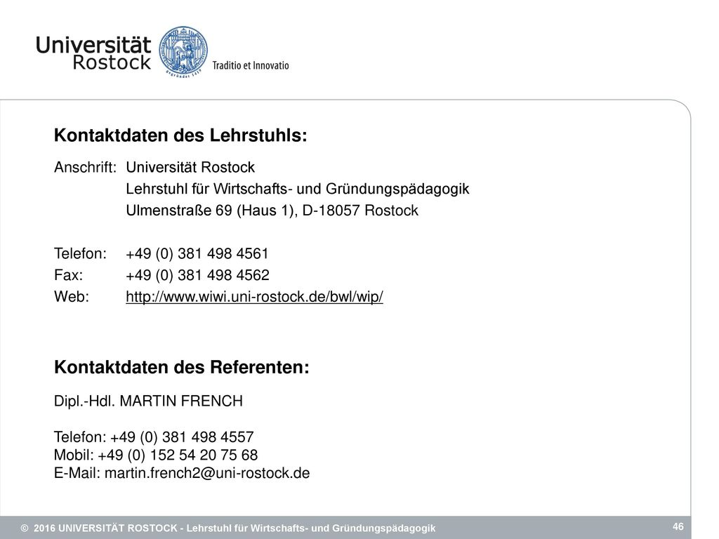Kontaktdaten des Lehrstuhls:
