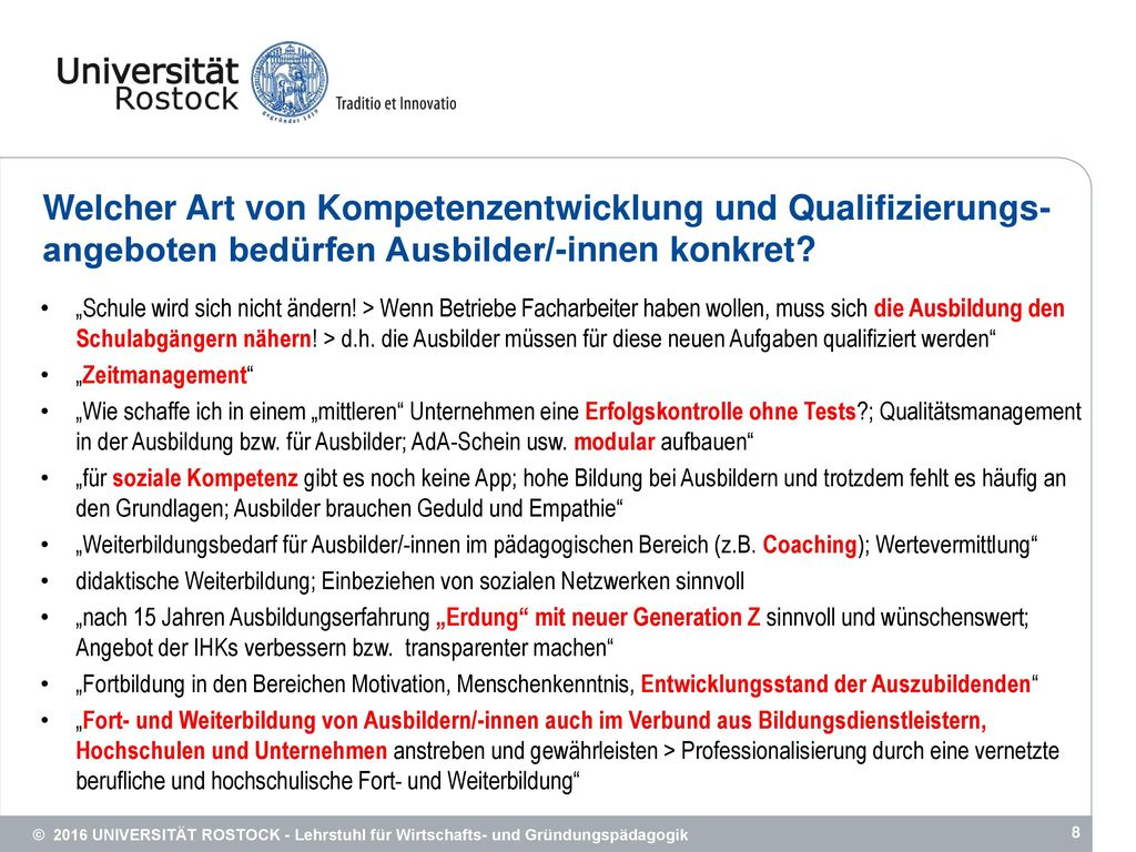 Welcher Art von Kompetenzentwicklung und Qualifizierungs-angeboten bedürfen Ausbilder/-innen konkret