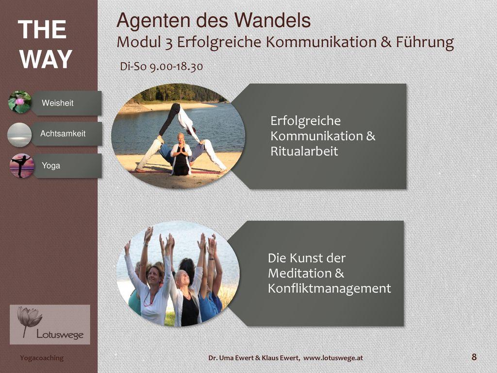 Agenten des Wandels Modul 3 Erfolgreiche Kommunikation & Führung Di-So 9.00-18.30