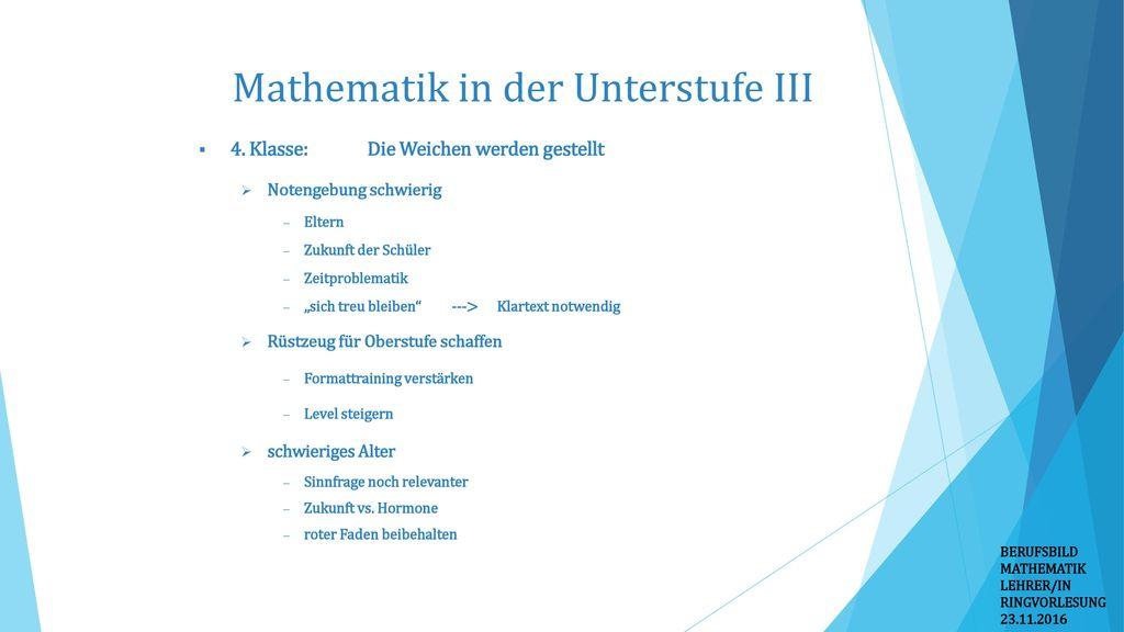 Mathematik in der Unterstufe III