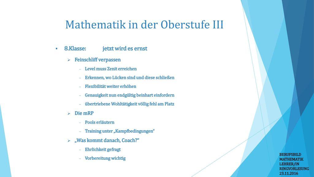 Mathematik in der Oberstufe III