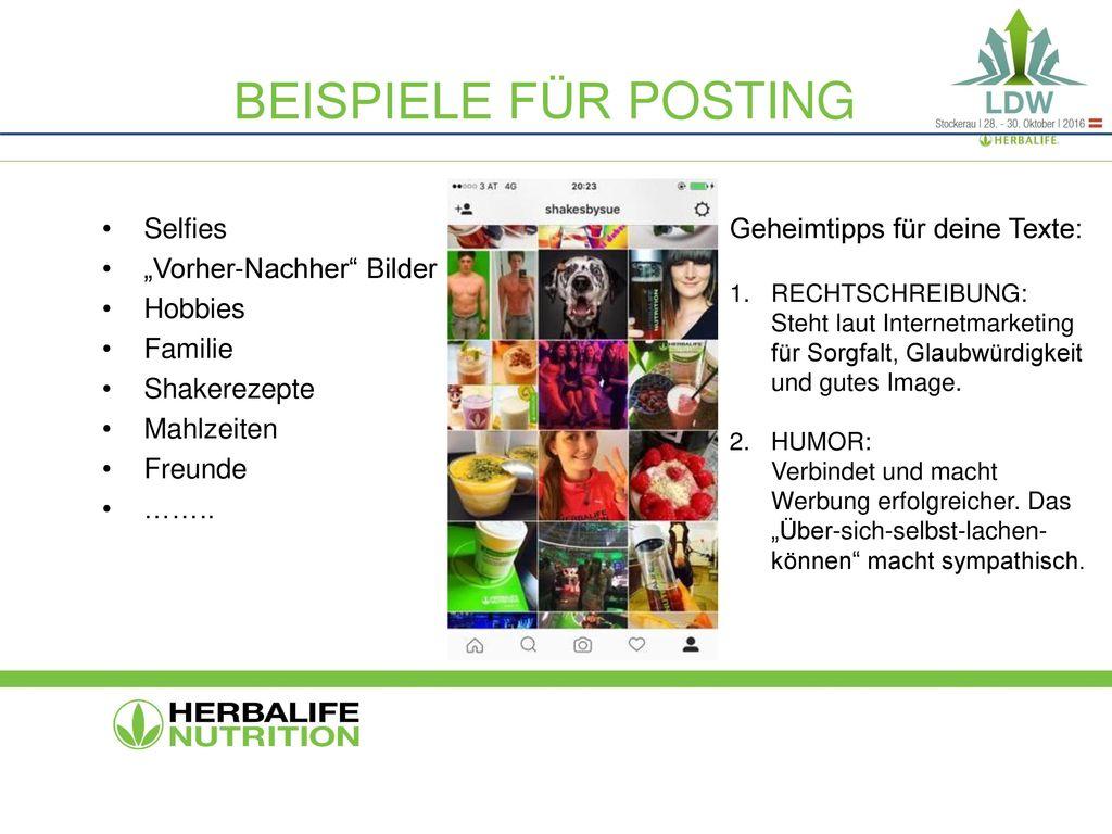 """Beispiele für posting Selfies """"Vorher-Nachher Bilder Hobbies Familie"""