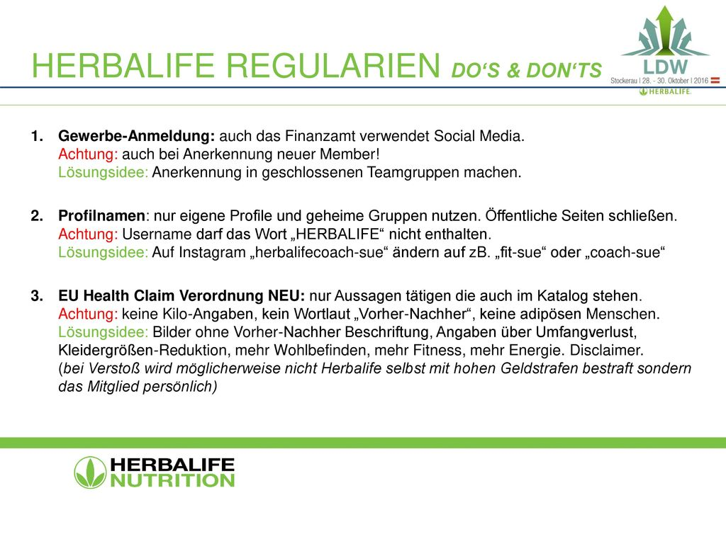 Herbalife regularien Do's & Don'ts