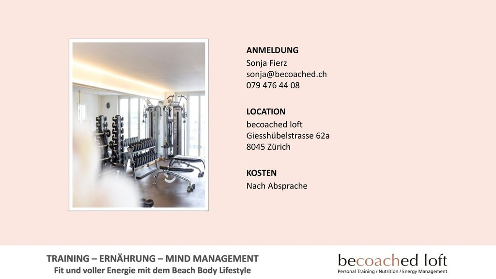 TRAINING – ERNÄHRUNG – MIND MANAGEMENT