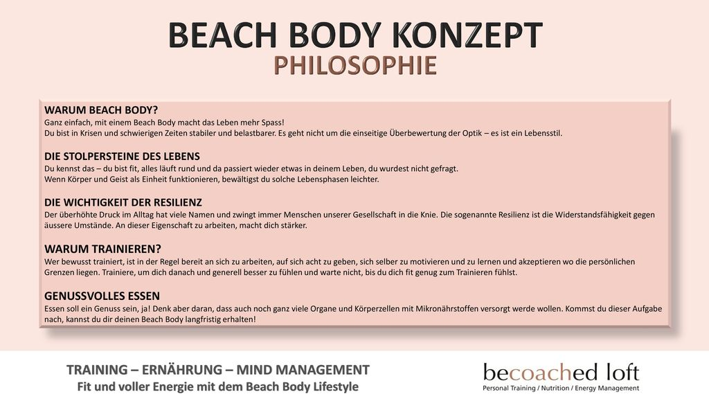BEACH BODY KONZEPT PHILOSOPHIE