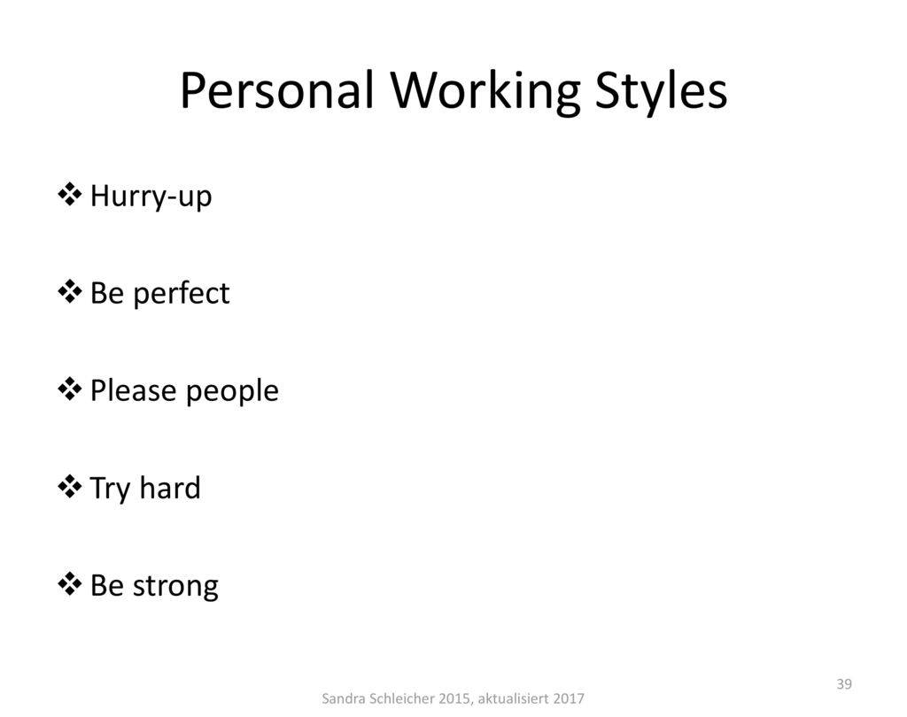 Personal Working Styles
