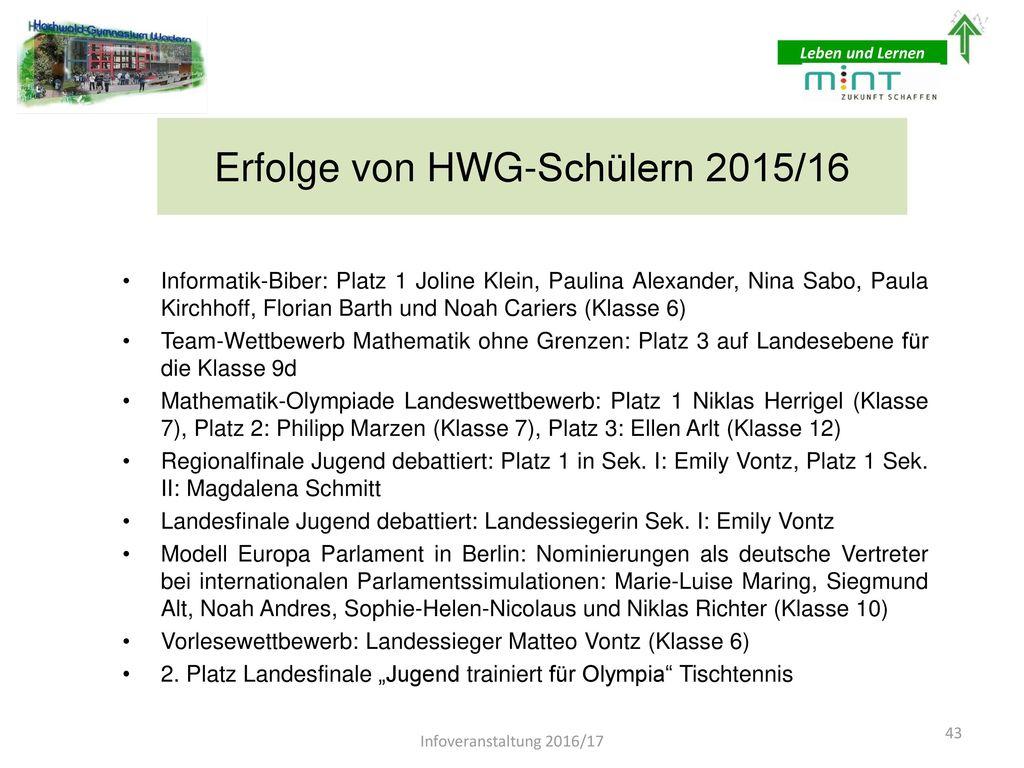 Erfolge von HWG-Schülern 2015/16