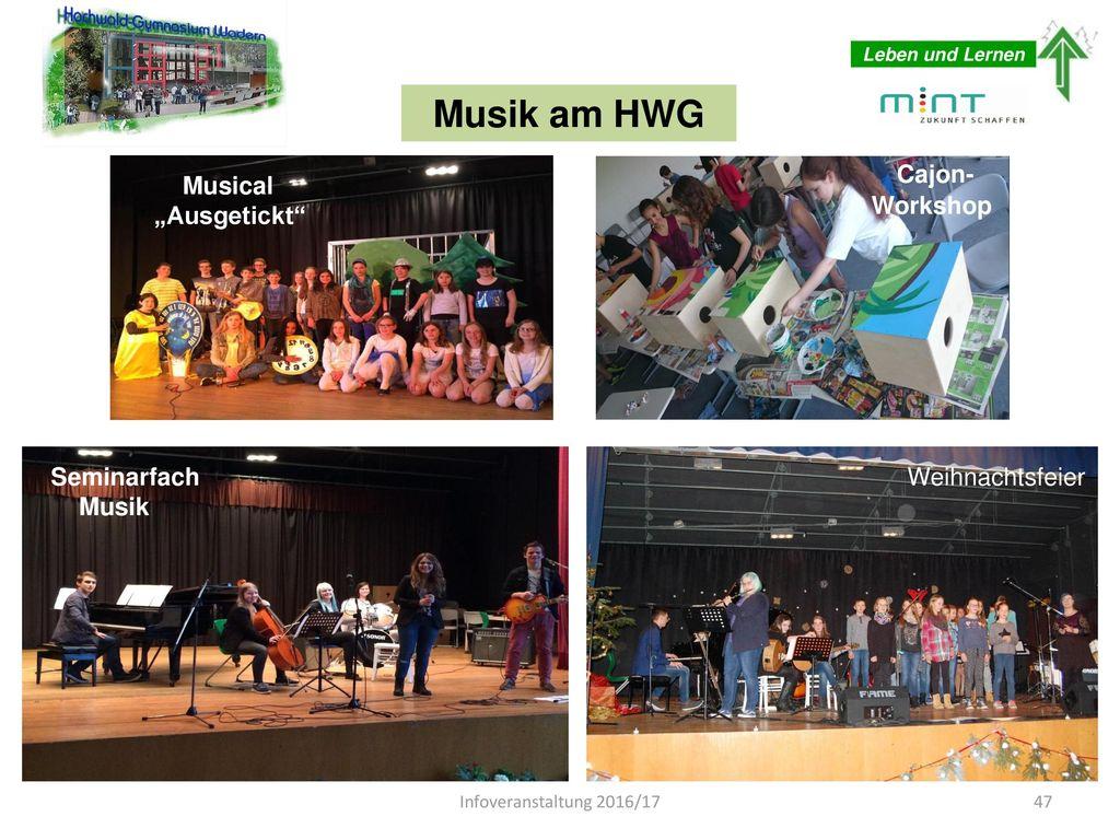 """Musik am HWG Cajon- Musical """"Ausgetickt Workshop Musical """"Ausgetickt"""