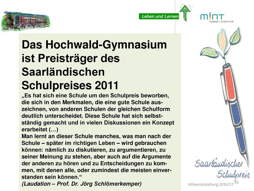 Das Hochwald-Gymnasium ist Preisträger des Saarländischen