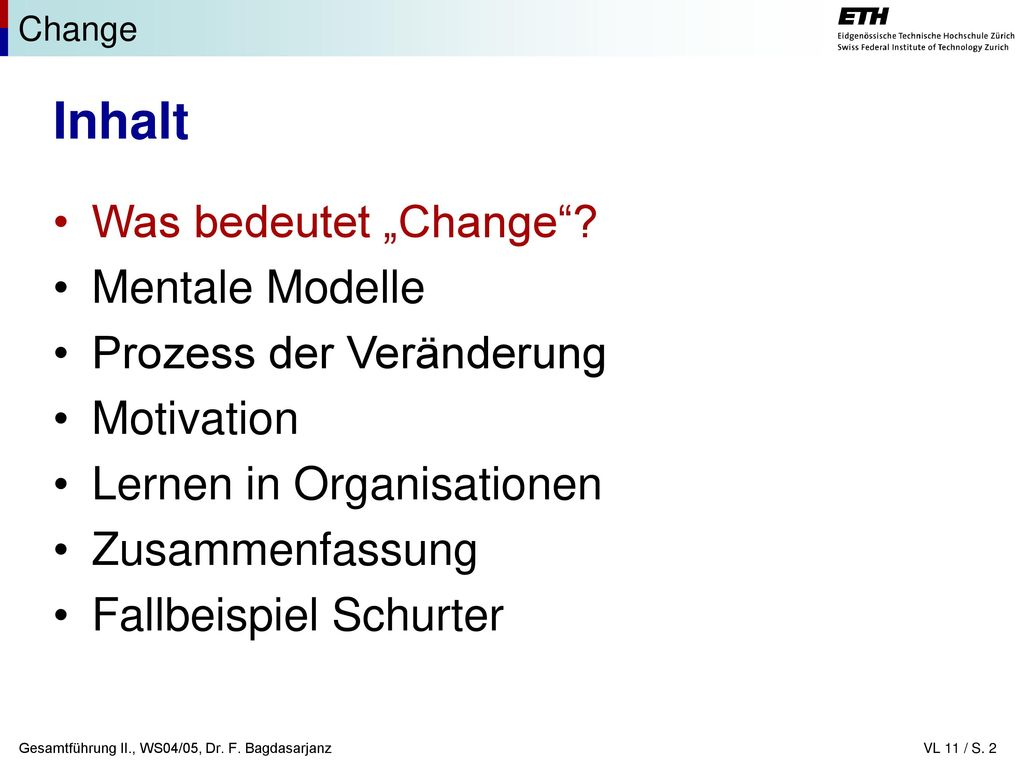 """Inhalt Was bedeutet """"Change Mentale Modelle Prozess der Veränderung"""