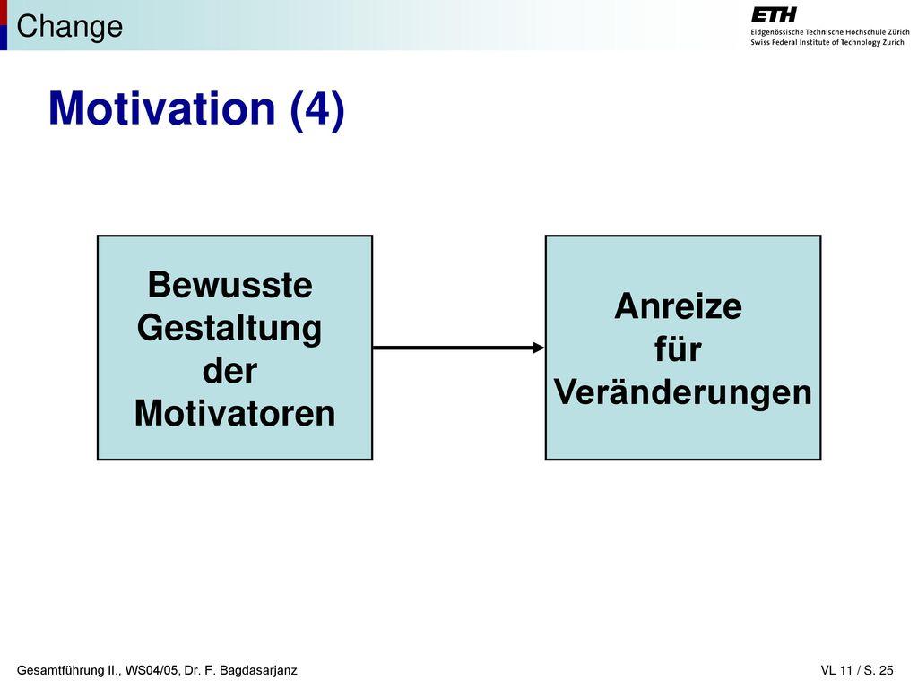 Motivation (4) Bewusste Anreize Gestaltung für der Veränderungen