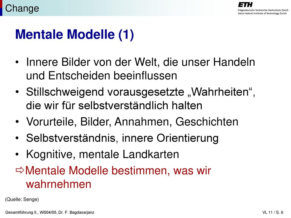 Change Mentale Modelle (1) Innere Bilder von der Welt, die unser Handeln und Entscheiden beeinflussen.