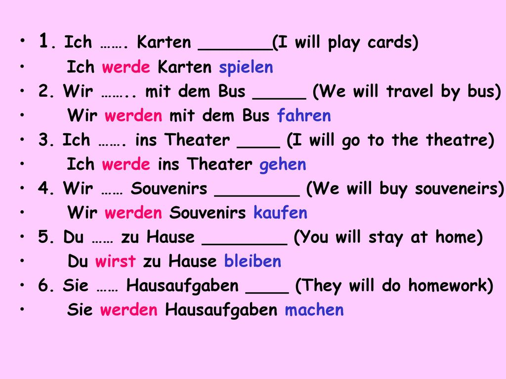 1. Ich ……. Karten _______(I will play cards)