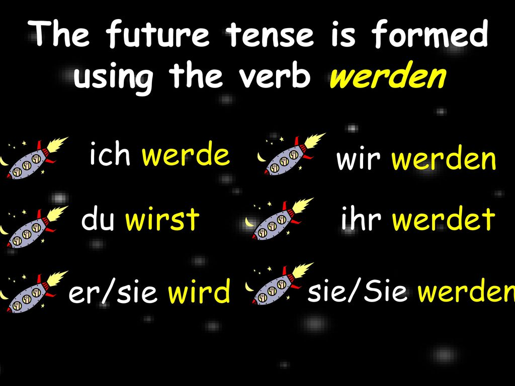 The future tense is formed using the verb werden