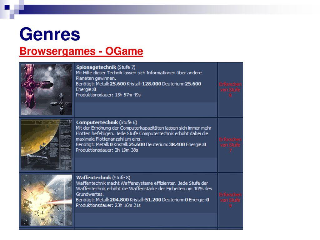 Genres Browsergames - OGame