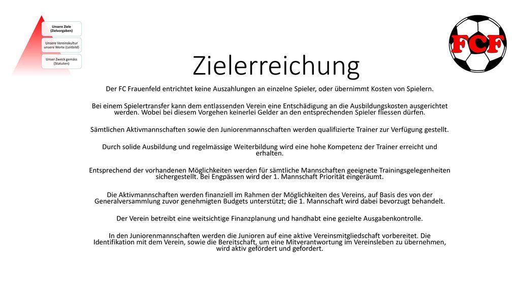 Zielerreichung Der FC Frauenfeld entrichtet keine Auszahlungen an einzelne Spieler, oder übernimmt Kosten von Spielern.
