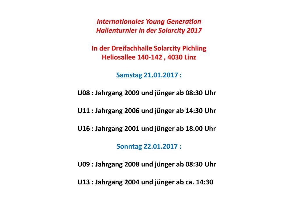 Internationales Young Generation Hallenturnier in der Solarcity 2017