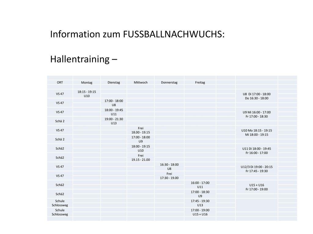 Information zum FUSSBALLNACHWUCHS: Hallentraining –