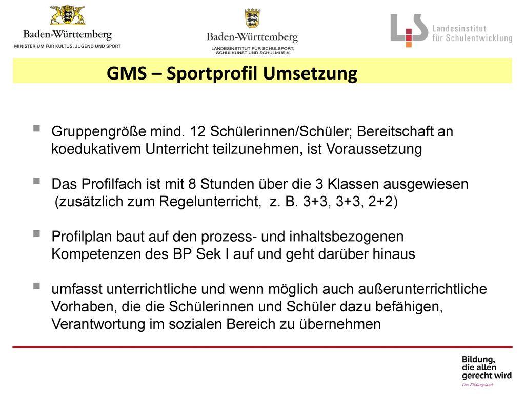 GMS – Sportprofil Umsetzung
