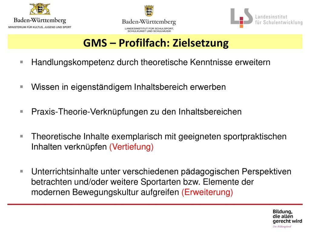 GMS – Profilfach: Zielsetzung