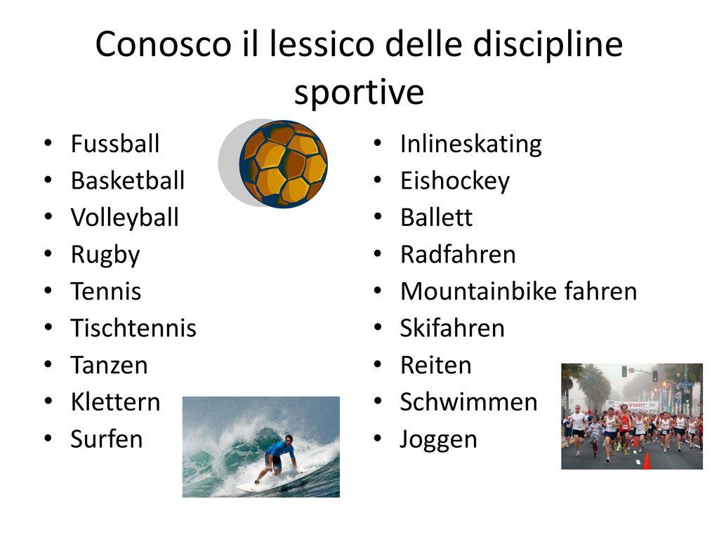 Conosco il lessico delle discipline sportive