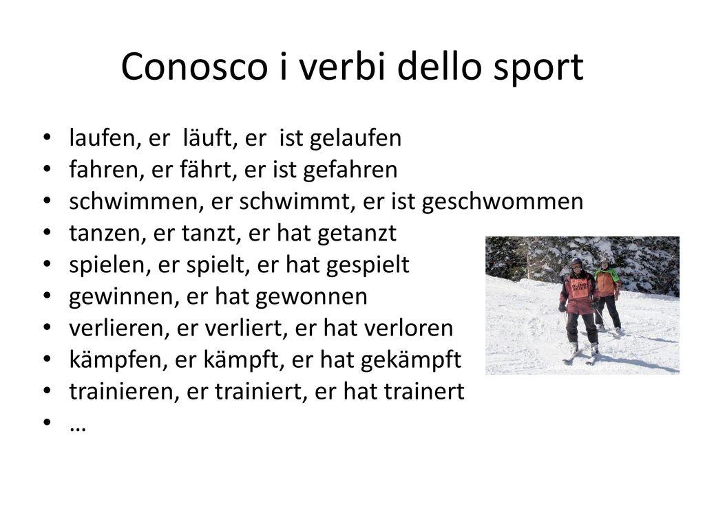 Conosco i verbi dello sport
