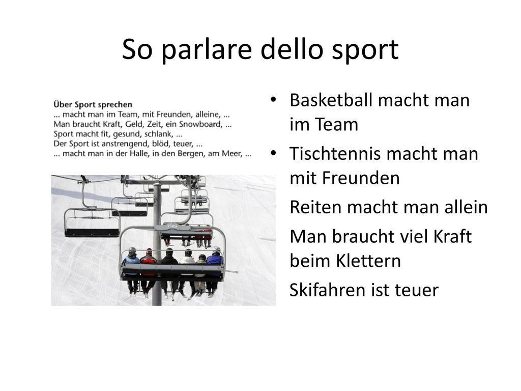 So parlare dello sport Basketball macht man im Team