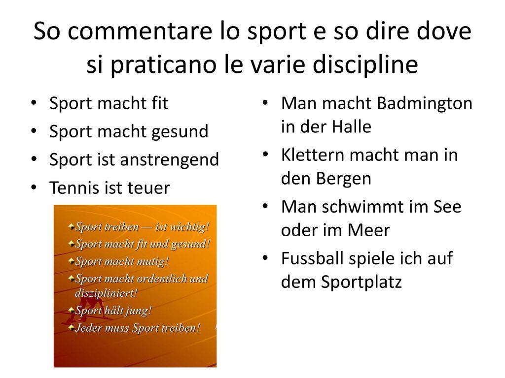 So commentare lo sport e so dire dove si praticano le varie discipline