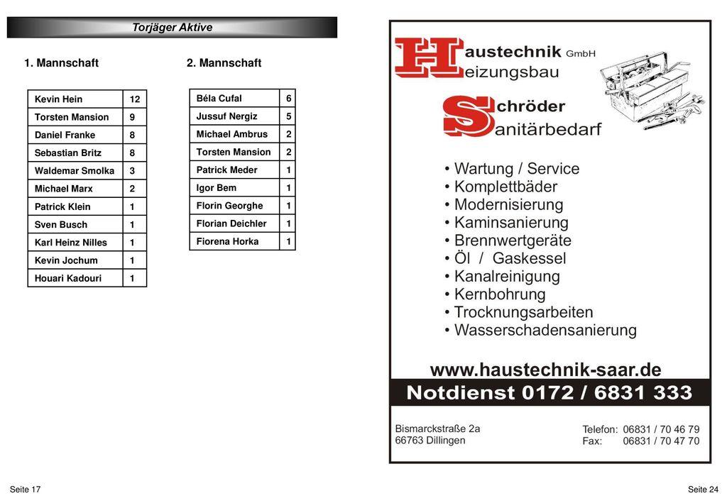 Torjäger Aktive 1. Mannschaft 2. Mannschaft Kevin Hein 12