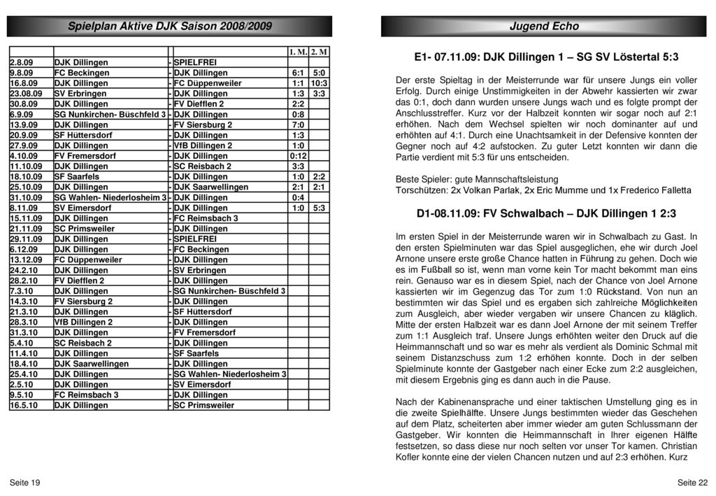 Spielplan Aktive DJK Saison 2008/2009 Jugend Echo