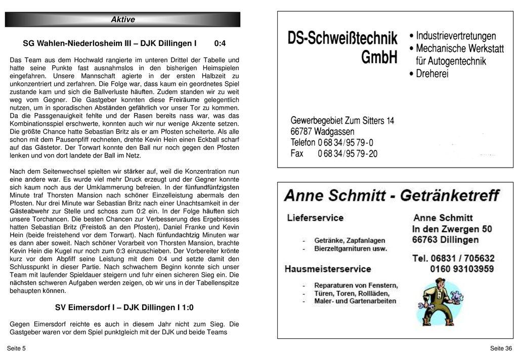 SG Wahlen-Niederlosheim III – DJK Dillingen I 0:4