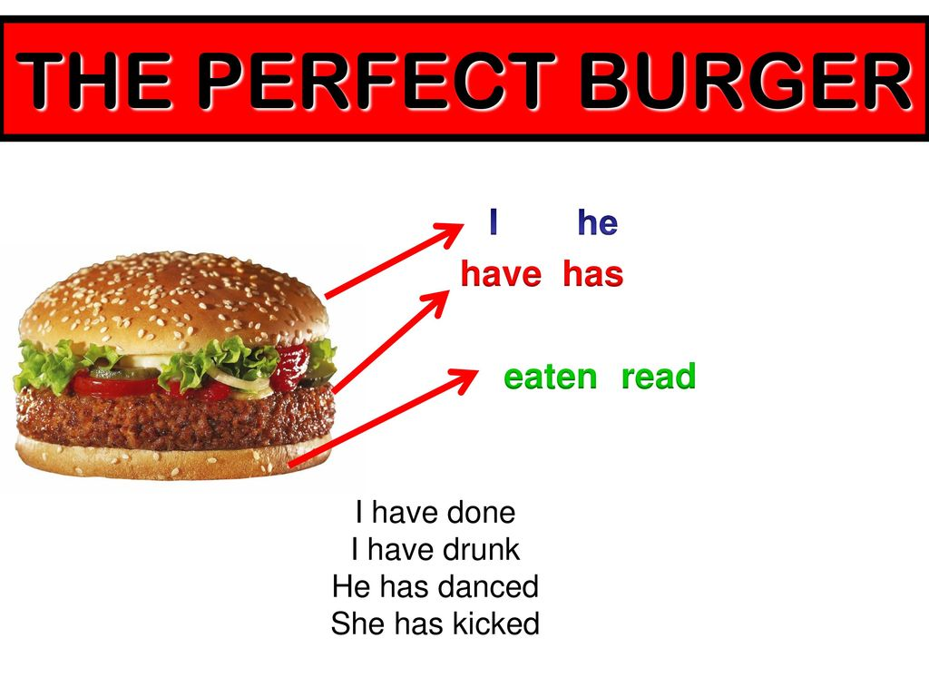 THE PERFECT BURGER I he have has eaten read I have done I have drunk