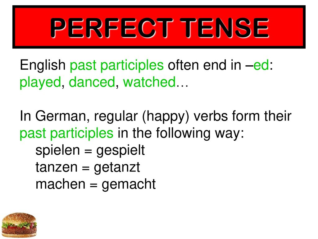 PERFECT TENSE English past participles often end in –ed: played, danced, watched…