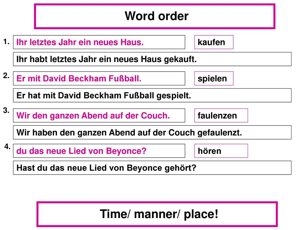 Word order Time/ manner/ place!