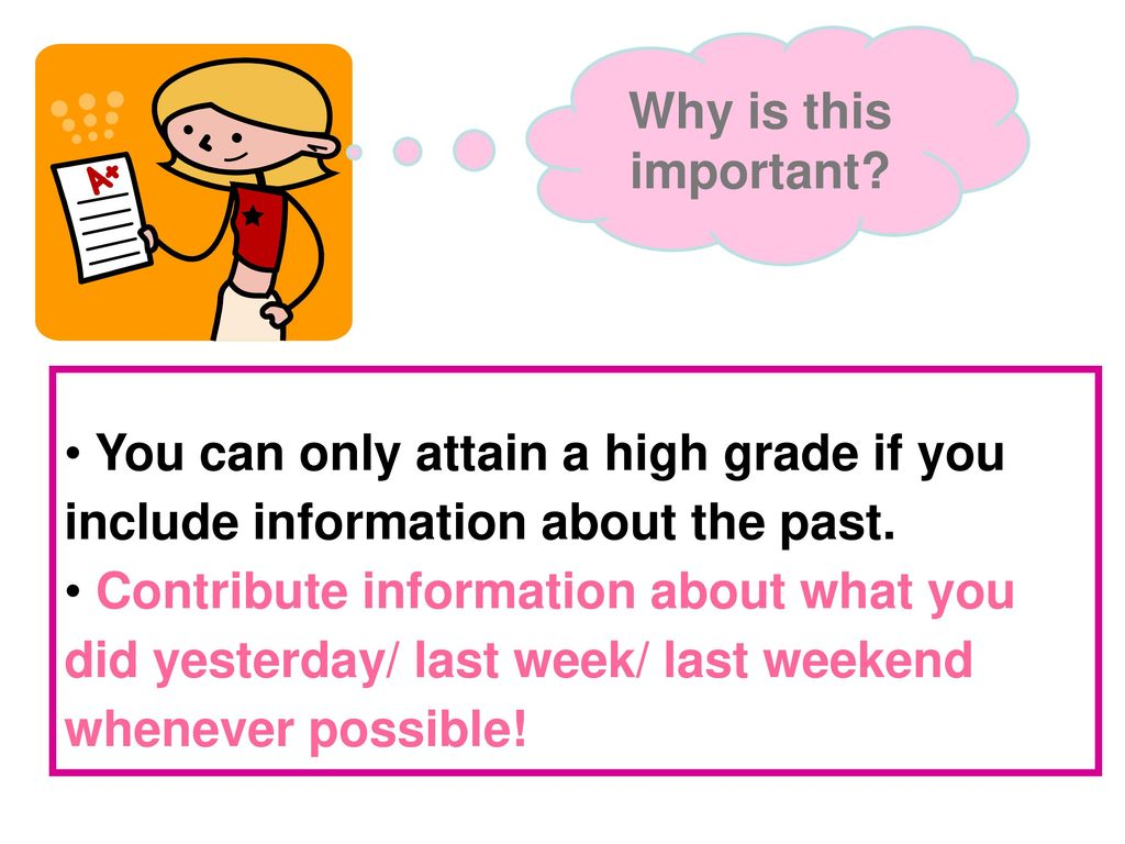 Why is this important You can only attain a high grade if you include information about the past.