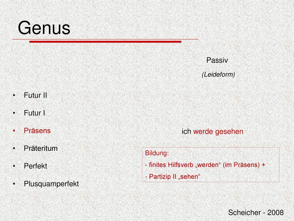 Genus Passiv Futur II Futur I Präsens Präteritum Perfekt