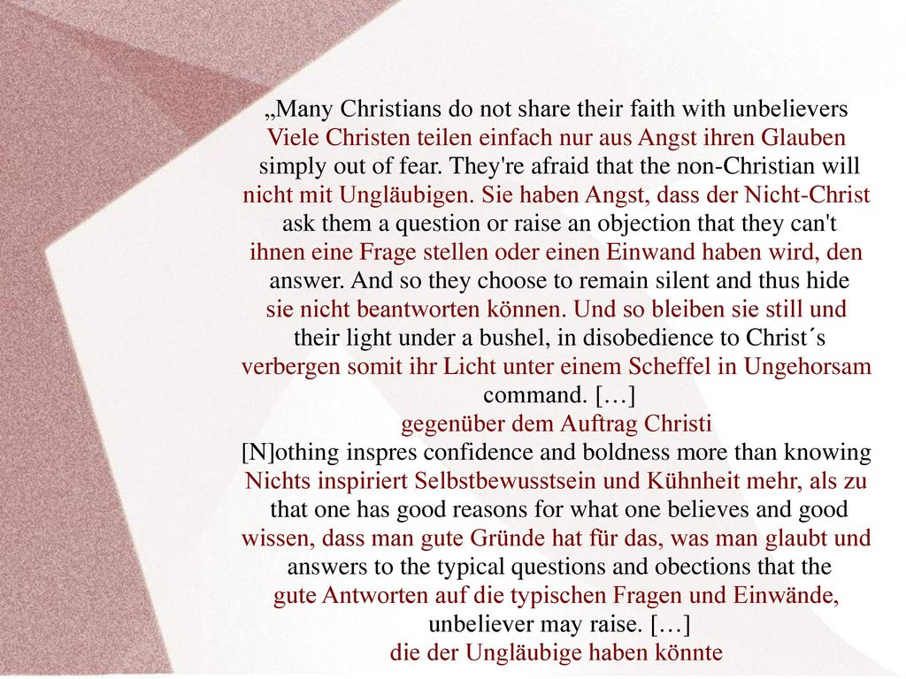 """Many Christians do not share their faith with unbelievers"