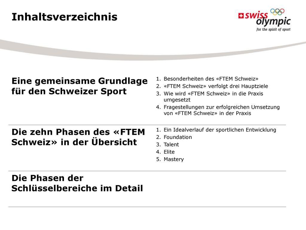 Inhaltsverzeichnis Eine gemeinsame Grundlage für den Schweizer Sport