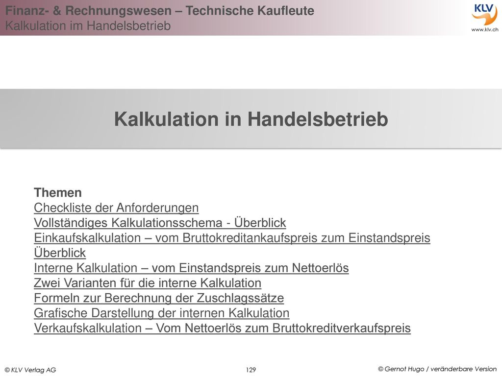 Kalkulation in Handelsbetrieb