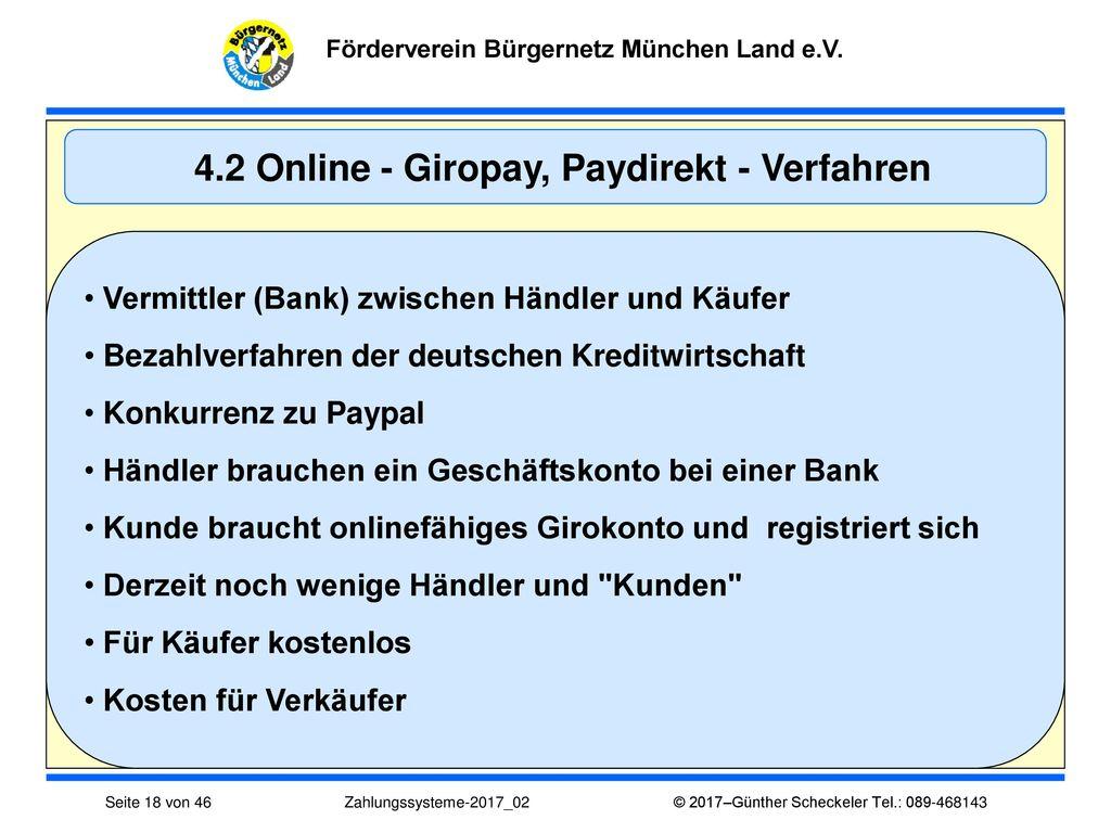 4.2 Online - Giropay, Paydirekt - Verfahren