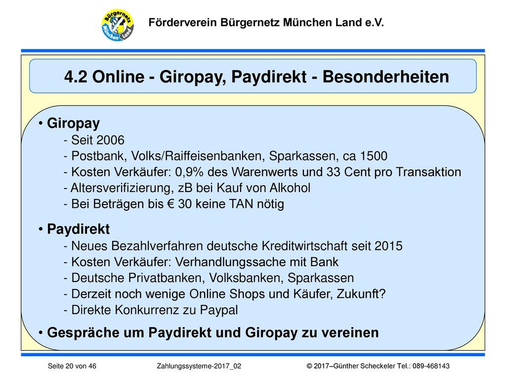 4.2 Online - Giropay, Paydirekt - Besonderheiten