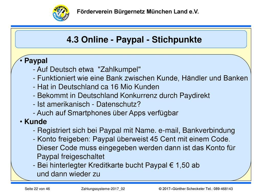 4.3 Online - Paypal - Stichpunkte