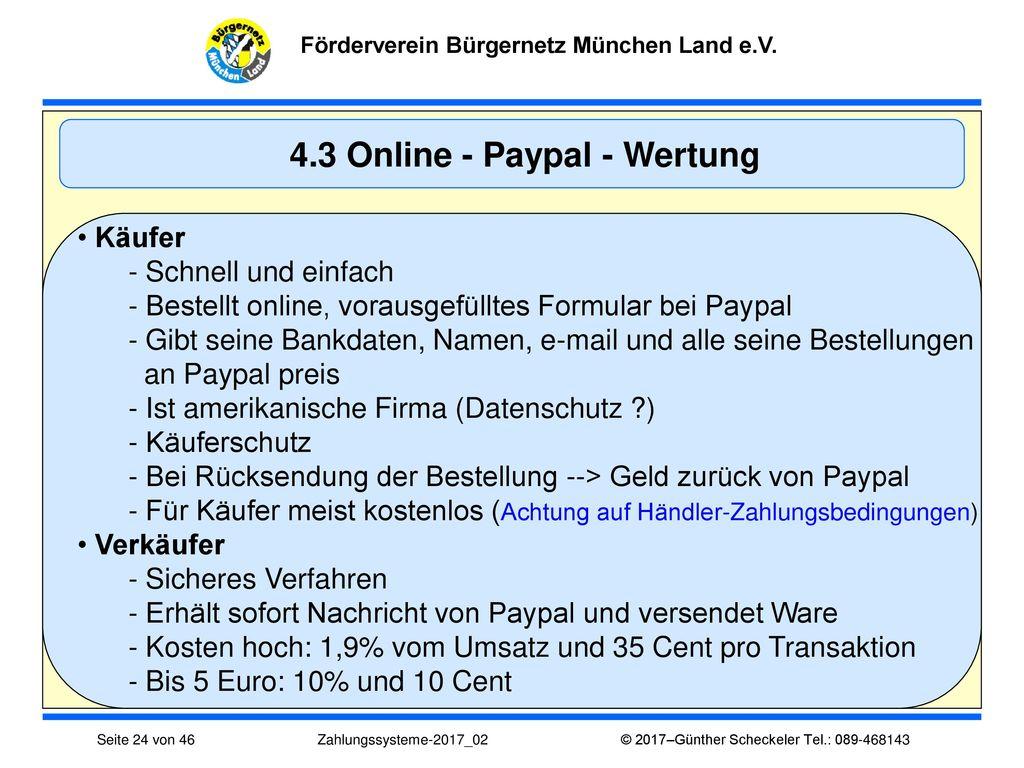 4.3 Online - Paypal - Wertung
