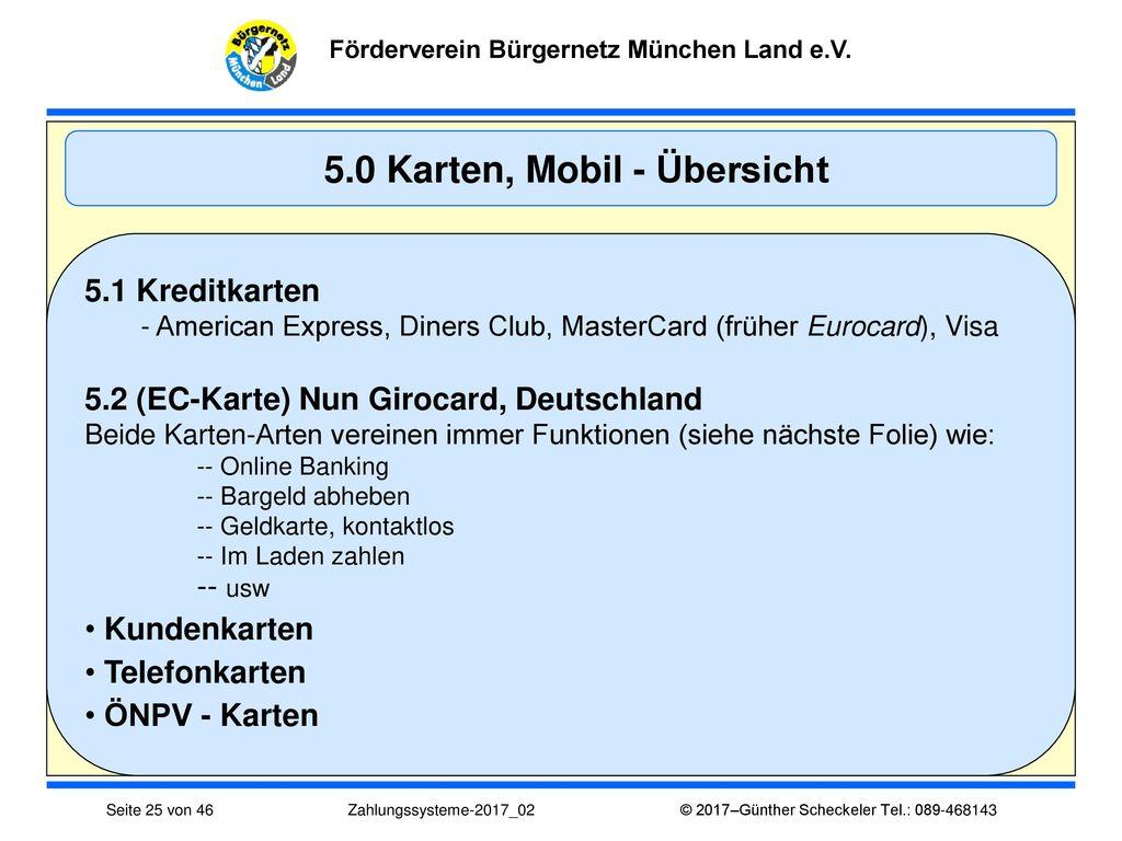 5.0 Karten, Mobil - Übersicht