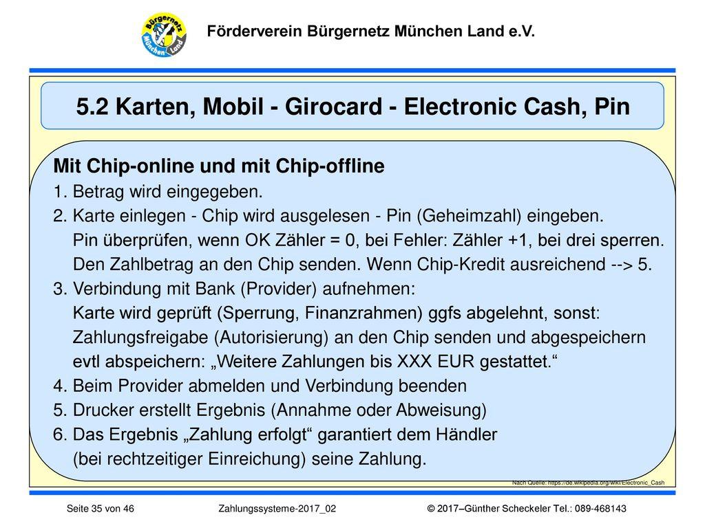5.2 Karten, Mobil - Girocard - Electronic Cash, Pin