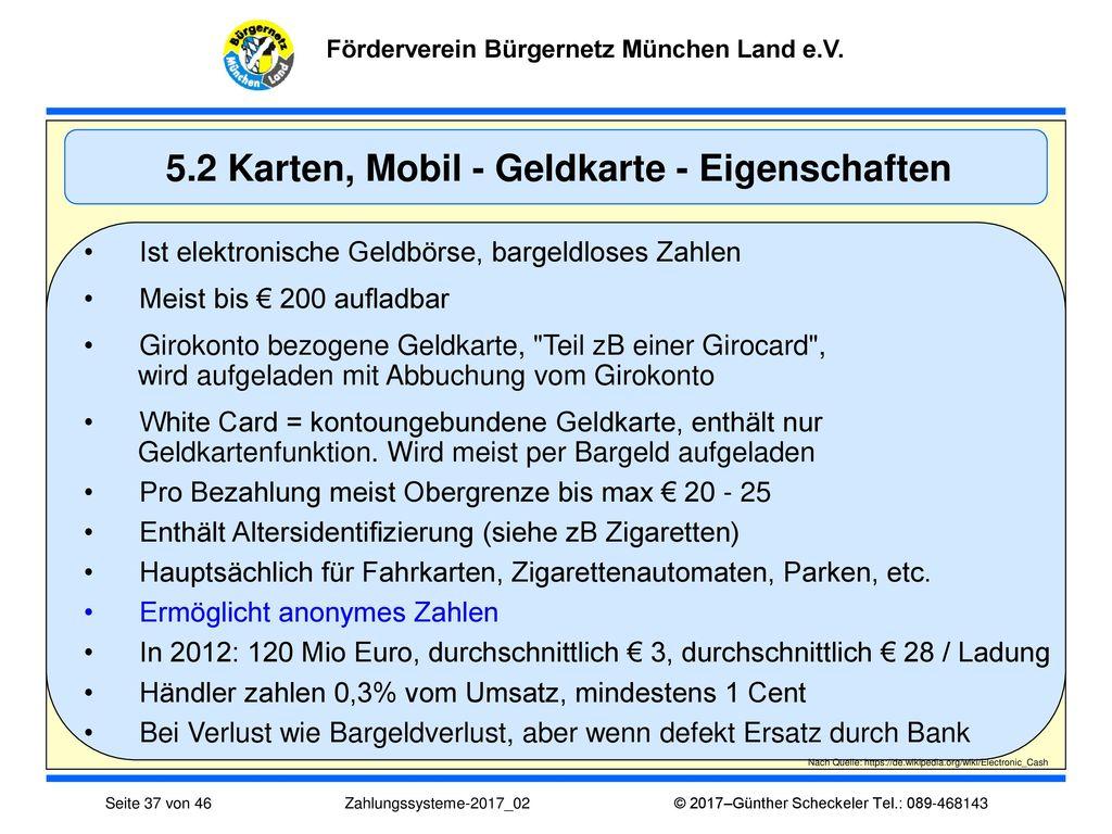 5.2 Karten, Mobil - Geldkarte - Eigenschaften
