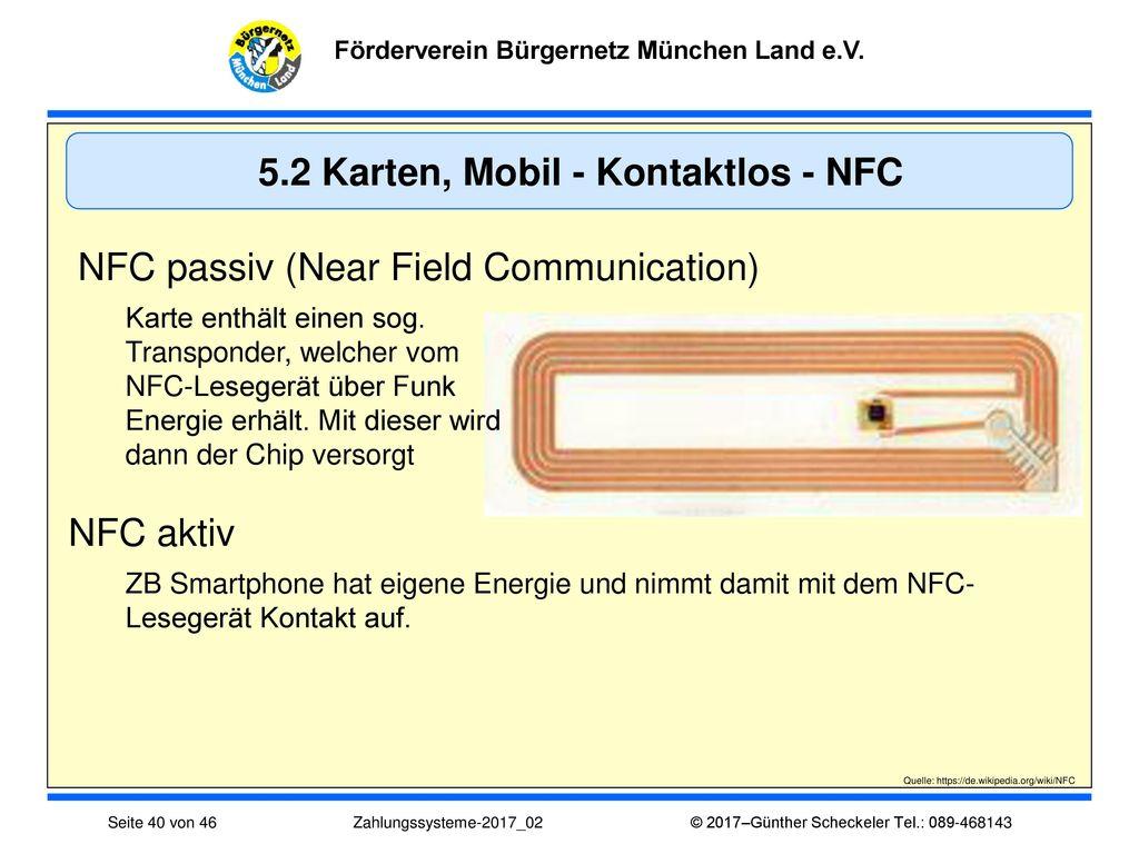 5.2 Karten, Mobil - Kontaktlos - NFC